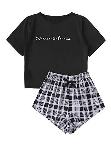 DIDK Damen Sommer Schlafanzug Pjama Set mit Kordelzug Hausanzug Sleepwear Kurz T-Shirts Kariert Hose Schwarz #90 S