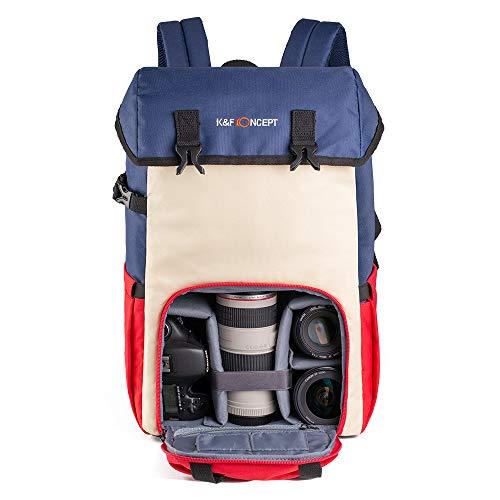 K&F Concept カメラバッグ 一眼レフ カメラリュック 2気室 おしゃれ 20L大容量 超軽量 15インチpc 防水 nikon sigma canonミラーレス全対応 旅行外出日常バッグパック カラー色