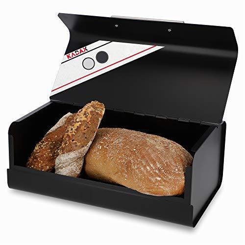 KADAX Brotkasten aus Stahl, 36 x 22,5 x 13,5 cm, Brotbox mit Metallgriff, rechteckiger Brotbehälter, Brotdose für Brötchen, Baguettes (Schwarz)