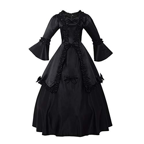 GRACEART Damen Langarm Mittelalter Kleid Gothic Viktorianisches Renaissance Maxi Kostüm (schwarz, XL)