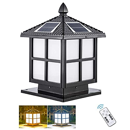 Retro IP66 Pilar de poste solar impermeable para exteriores, lámpara de jardín con control remoto, que Villa Luz de columna de paisaje Lámpara de mesa de aluminio a prueba de herrumbre Accesorio Lám
