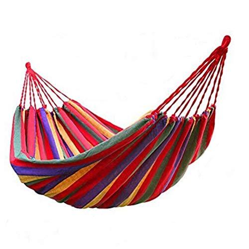 Yousiju Hamaca de jardín Doble Hamaca portátil Deportes Viajes en casa Camping al Aire Libre Columpio Silla Colgante Lona Gruesa Hamaca de Cama con Rayas (Color : B-190x150cm)