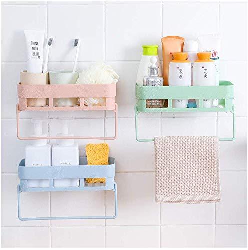 Multifunctionele keukenhouder, kunststof, voor het ophangen van badkamers, zonder gat, met kruidenrek en haken voor witte doeken.
