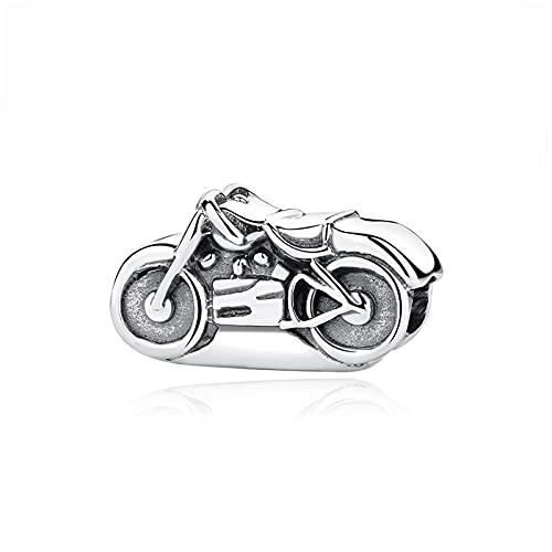 LILANG Pandora 925 Pulsera de joyería NaturalOriginal Plata deLeyAntigua Motocicleta BicicletaEncanto Mujeres DIY Regalos