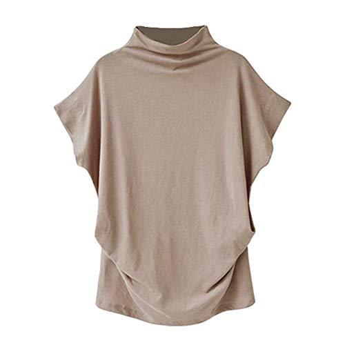 Hoge hals Vest Vrouwen Losse Korte mouw Bodemshirt Effen Kleur Casual Plus Size Tee Tops door JUSTnowok