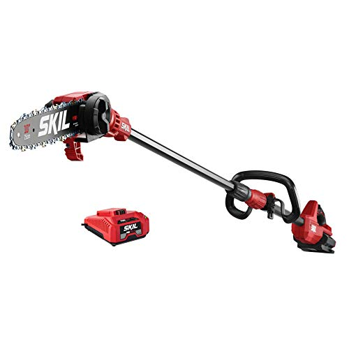 """Skil PS4561C-10 CORE 40 Brushless 40V 10"""" Pole Saw, Includes 2.5Ah Battery and Auto PWR Jump Charger, Red"""