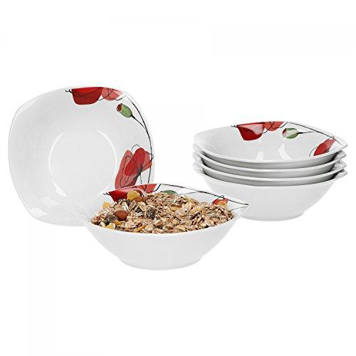 Van Well 6er Set Müslischale Monika | 250-350 ml | 140 x 140 mm | Salatschale | kleine Suppenschale | Servierschale | Mohn-Blume | Porzellan-Geschirr | Gastro