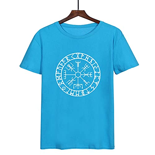 SBRTL Camiseta de Runa Nórdica, Brújula Mítica Vikinga Vegvisir Futhark Símbolo Valhalla Amulet Top Cinco Colores,Azul,XXL