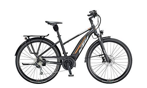 """KTM Macina Fun 510 Bosch Trekking Elektro Fahrrad 2020 (28\"""" Damen Trapez 51cm, Black Matt/Grey/Orange)"""