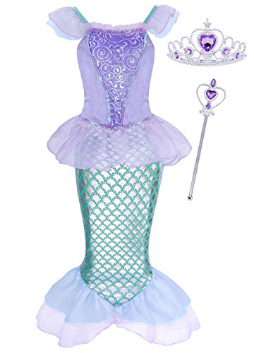 HenzWorld Girls Dresses Princess Costume Cape Birthday Party Halloween Cosplay Outfits Mesh Long Sleeve Sequins Blue Jewelry Gloves Hair Wig Accessories Set Patchwork Blue 7-8 Years