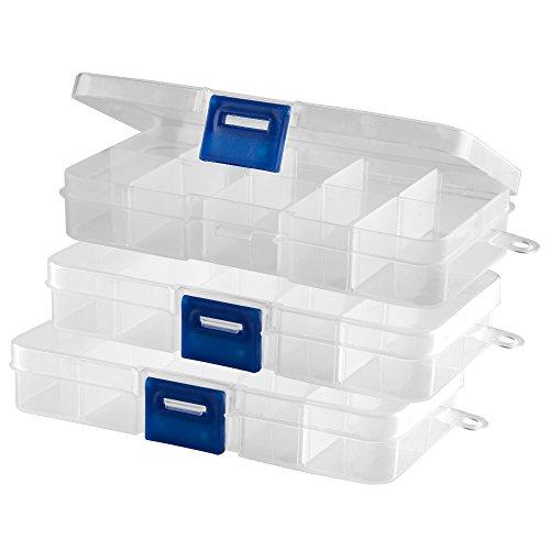 3 Stück Sortierbox transparent (leer) 10 Fächer mit Klappdeckel und Schnellverschluss