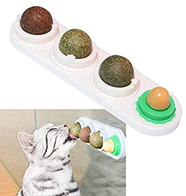 Catnip Balls, 4 Edible Kitty Toys for Cats Lick, Teeth Cleaning Natural Safe Healthy Wall Treats Rotatable Chew Dental Cat Toy (White)