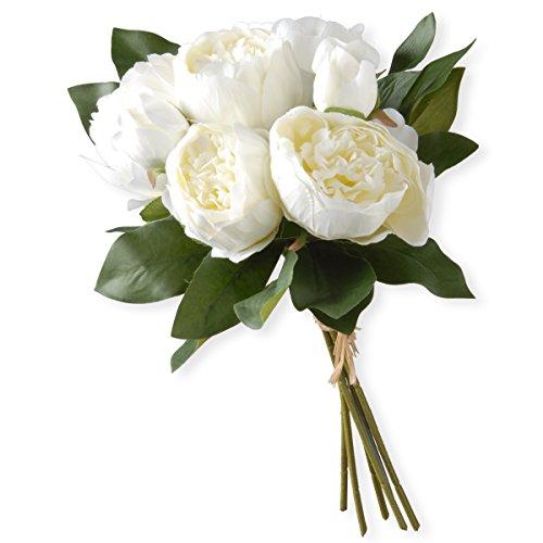 National Tree 12 Inch White Peony Flower Bundle (RAS-TMW14-1)