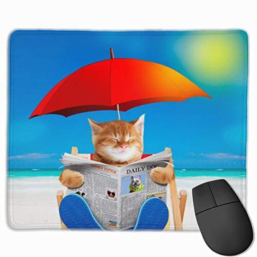 Gaming Mouse Pad Cat Read Zeitung im Strandkorb Mousepad Rechteck Rutschfeste Gummi-Mauspads Matte für Computer Laptop Home Office Game Desk