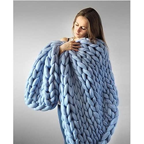 Manta de Lana Merino Gruesa de Moda Manta de Punto de Hilo Grande Grueso Manta de Punto de Invierno Mantas de Tiro cálidas sofá Cama Manta de Color de Imagen, 100x130cm