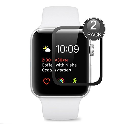 Protector de Pantalla Para Apple Watch 42mm ,EUGO Cobertura Completa 9H Dureza Vidrio Templado Cristal Templado para Apple Watch Series 1/Series 2/ Series 3 42mm (Negro)