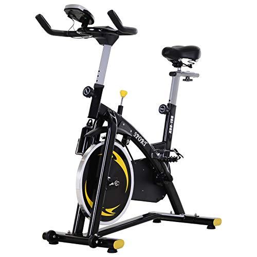 HOMCOM 10 kg volante correa de conducción bicicleta de ejercicio aeróbico entrenamiento interior Ciclismo vertical estacionario entrenamiento cardiovascular hogar fitness Racing máquina