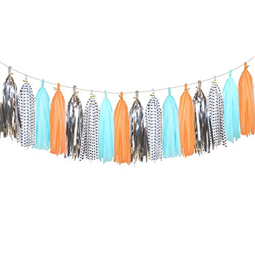 20 pcs Sparkly Tissue Paper Tassels - Paper Tassels Garland Banner for Bridal Shower, Wedding, Birthday Party Festival Decorations (Polka Dots, Light Blue, Orange, Metallic Silver)