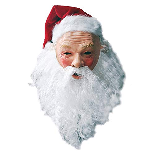 Christmas Santa Latex Mask with Red Santa Hat and Beard Overhead Mask Costume Set Props Masquerade Party Fancy Dress