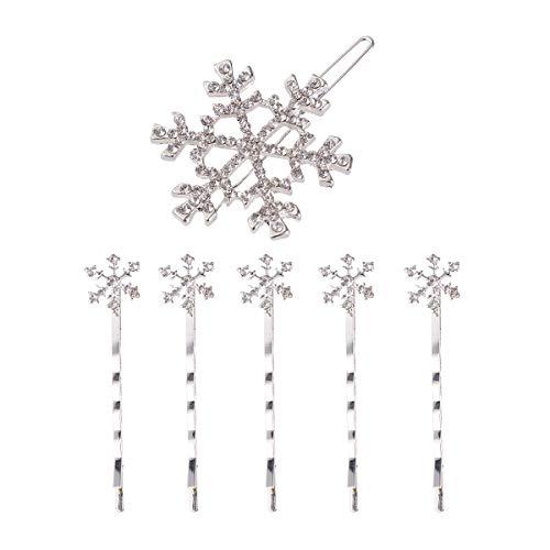 Frcolor 6 stücke Weihnachten Schneeflocke Haarnadeln Kristall Strass Haarspangen Haarspangen Haarschmuck für Kinder Kinder Mädchen (Weiß)