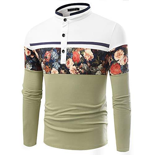 Derrick Aled(k) zhuke Polo para Hombre Pullover Cuello Alto Camiseta De Manga Larga Estampada A Juego con El Color Estilo Nacional OtoñO Invierno