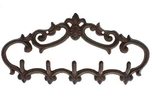 Comfify Cast Iron Wall Hanger – Vintage Design with 5 Hooks - Keys, Towels, etc - Wall Mounted, Metal, Heavy Duty, Rustic, Vintage, Decorative Gift Idea - 12.6x5.9""