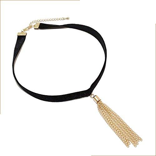 VANKER Mode Femmes Gothique Cuir Noir Gland Longue Collier Ras du Cou Bijoux Or