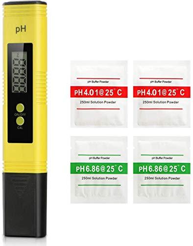 Koopower PH Messgerät Wasserqualität Tester mit LCD-Display Tragbarer Digitaler Pool pH Tester Monitor, PH Wert Messgerät Digitales für Pools Trinkwasser Hydroponic Aquarium Labor (Gelb)