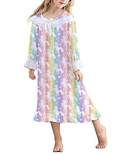 Lovekider Nachthemd für Mädchen Drucken Einhorner Schlafanzug mit Rüschen Kurzarm Bowknot Nachtwäsche Baumwolle Super Weich Schlafshirt Schlafanzüge Sleep Gown Pyjamas Nightdress