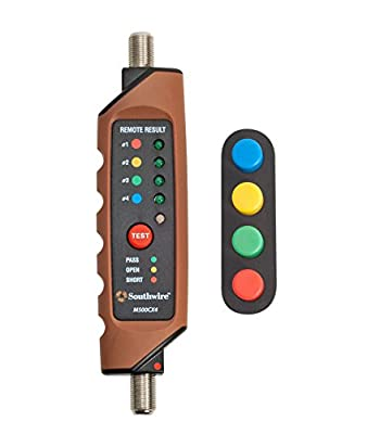 Southwire M500CX4 Coax Continuity Tester/Mapper, Durable Design, Auto Power-Off, Double-Molded Housing, Easy-to-Understand LED Display, Includes 4 Color-Coded ID Remotes