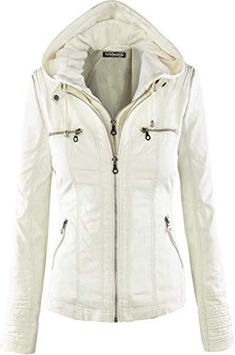 Newbestyle Jacke Damen Lederjacke Frauen Kunstlederjacke Damen mit Zip (Normale EU-Größe)