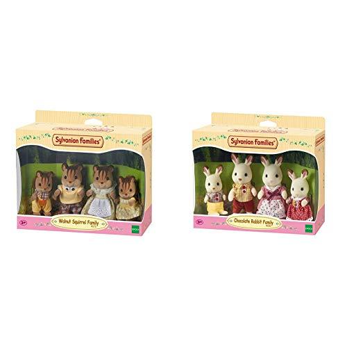 SYLVANIAN FAMILIES Walnut Squirrel Family Mini Muñecas y Accesorios, (Epoch para Imaginar 4172) + Familia de Conejos