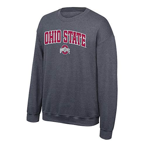 Elite Fan Shop Ohio State Buckeyes Men's Dark Heather Arch Crewneck Sweatshirt, Large