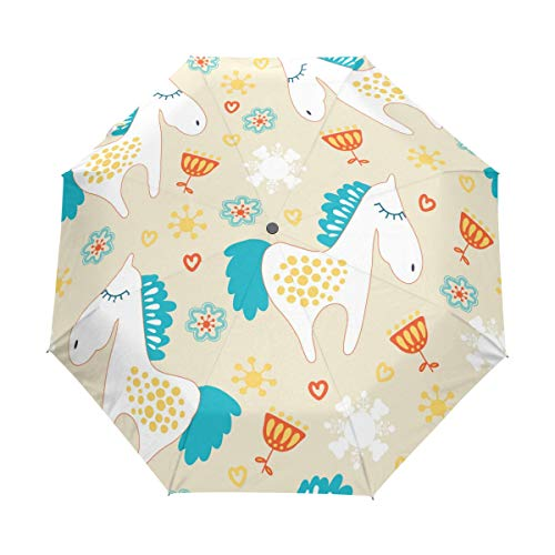 Jeansame Kerstmis Nieuwjaar Winter Eenhoorn Sneeuwvlokken Vouwen Compacte Paraplu Automatische Regen Paraplu's voor Vrouwen Mannen Kid Boy Meisje