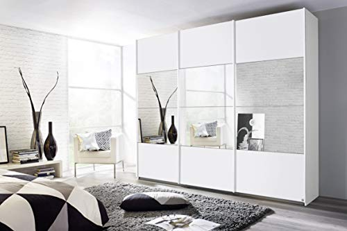 Rauch Möbel Quito Schrank Schwebetürenschrank in Weiß mit Spiegel 3-türig inklusive Zubehörpaket Premium 3 Kleiderstangen, 7 Einlegeböden, 1 Schubkasteneinsatz BxHxT 271x210x62cm