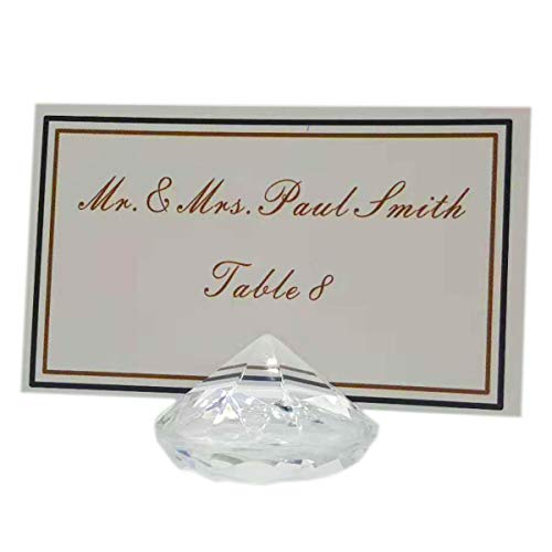 AiFanS Diamond Table Place Card Holdes(Clear,4cm Set of 12)