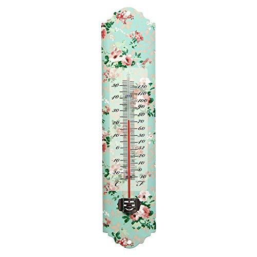 Rivanto® Thermometer mit Rosendruck Motiv, mit Montagelochung, 7 x 1,5 x H30 cm, klassisches Design, Celsius und Fahrenheit-Skala, Garten-Thermometer