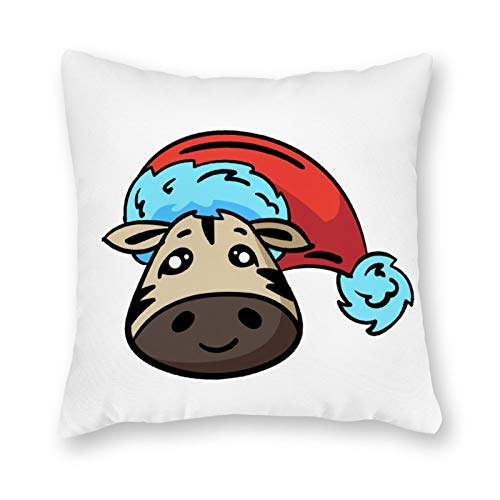 Anyuwerw Christmas Jungle Face Zebra Throw Pillow Cover,Merry Christmas Decorative Pillow Cases,Xmas Pillow,Square Accent Cushion Cover Pillowcase 18'x18',Christmas Home Decor