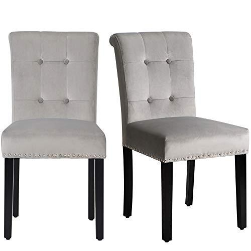 2er Set Esszimmerstühle Küchenstuhl mit Eiche Bein, Polsterstuhl Wohnzimmerstuhl mit Rückenlehne, Grau