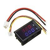 ILS - Mini Digital Voltmetro Amperometro DC 100V 10A Pannello Tensione Corrente Tester 0.56'Blu Rosso Dual LED Display