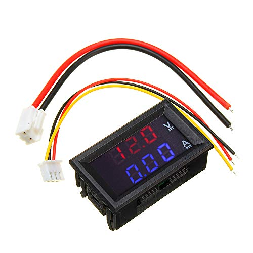 """ILS - Mini-Digital-Voltmeter Amperemeter DC 100V 10A Panel-Amp Volt Spannung Strom-Meter Prüfvorrichtung 0,56 Blau Rot Doppel-LED-Display"""""""