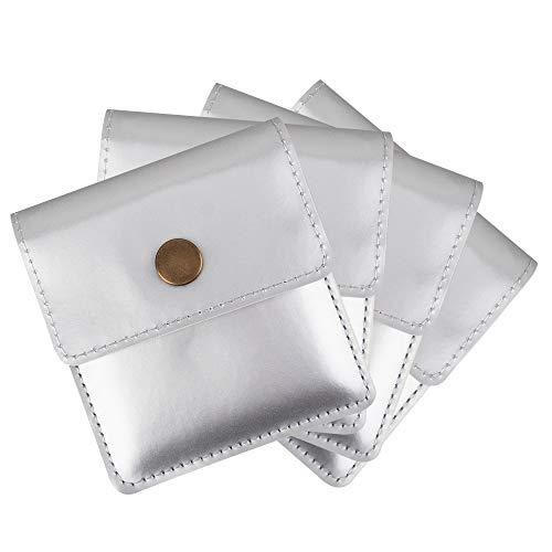 [TEMLUM] 携帯灰皿 携帯用吸殻入れ 4点セット購入 高級 PU  小銭入れ 携帯はい皿 おしゃれ ポケット入れ 小型 マナーを守る サイズ (シルバー)