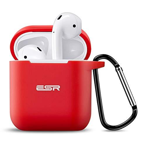 ESR AirPods Hülle mit Karabinerhaken - Stoßfeste Schutzhülle mit weicher schlanker Silikon Passform - Kompatibel mit dem Apple AirPods Ladecase (Rot)