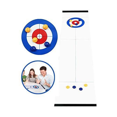 YYL Schnelles Sling Puck Spiel Tabletop Curling Tragbares Curling-Brettspiel mit 8 Walzen für Familien, Erwachsene und Kinder Team Brettspiel Einfach Einzurichten Kompakt