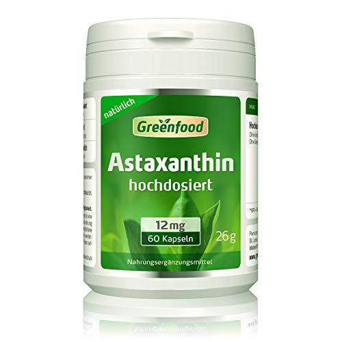 Greenfood Astaxanthin, 12 mg, hochdosiert, 60 Kapseln – natürliches starkes Carotinoid, ohne künstliche Zusätze, ohne Gentechnik.