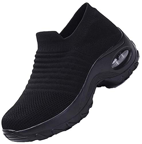 [Biokosca] スニーカー レディース ウォーキングシューズ ナースシューズエアクッション ウォーキング 厚底 身長アップ5CM 船型底ナースシューズ 作業靴 看護師 婦人靴 矯正靴軽量 通気-ブラック(A) 23.5 cm