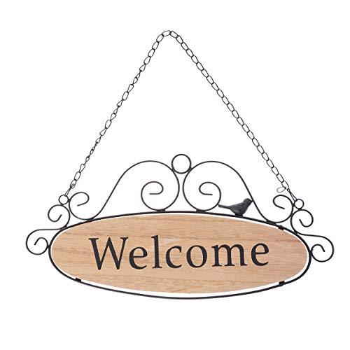 VOSAREA Carteles de Puerta de Bienvenida Signo de Madera Decorativo Colgante Decoración de Puerta de Entrada en Hogar
