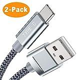 Cavo USB C 2M 2Pack, Snowkids Nylon Intrecciato Cavo USB Tipo C di Ricarica Rapida e Trasmissione per Samsung Galaxy S10/ S9/ S8 Plus, Huawei P30/ P20/ Mate20, Sony Xperia XZ