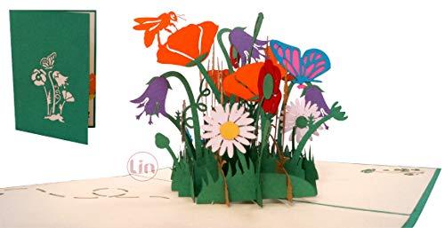 LIN17599, Pop Up Karte Blumen, Pop Up Geburtstagskarte, Grußkarten Blumen, Klappkarte Geburtstagskarte, Muttertagskarte, Danke, Viel Glück, Gute Besserung, Bienen, Schmetterling, Blumen, N353