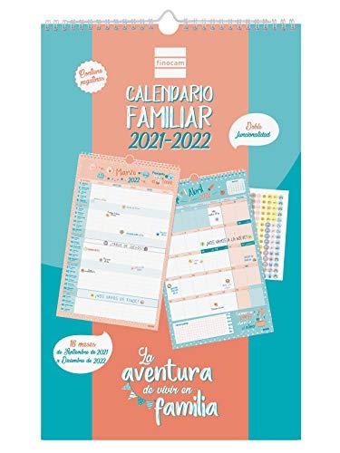 Finocam - Calendario de Pared Familiar Aventura Basic 16 meses 2021 2022 Mes Vista Español, basic - 250 x 400